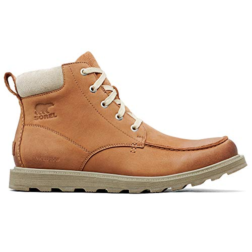 - Sorel - Men's Madson Moc Toe Waterproof Boot, All-Weather Footwear for Everyday Wear, Camel Brown, Oatmeal, 9.5 M US