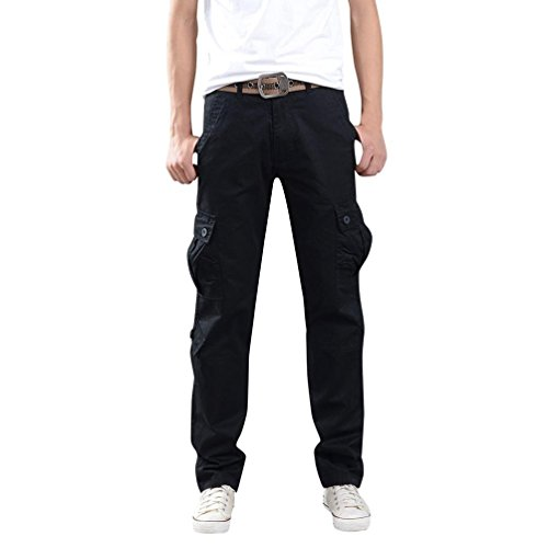 OWMEOT Men's Casual Jogging Harem Pants (Black, 31) by OWMEOT