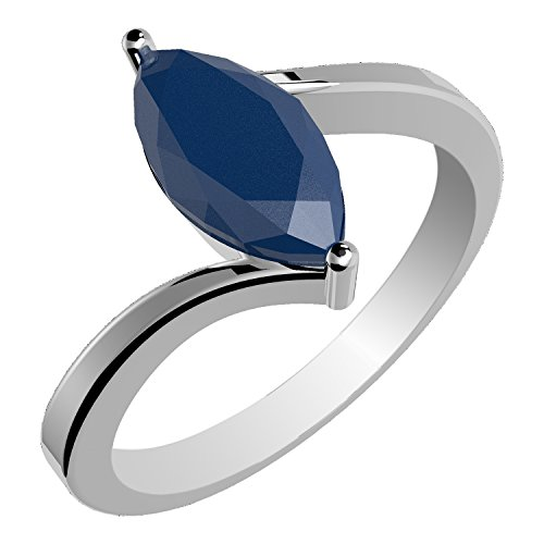 1.15ctw Genuine Sapphire Marquise & Solid .925 Sterling Silver Ring (Size-10) (Genuine Marquise Sapphire Ring)