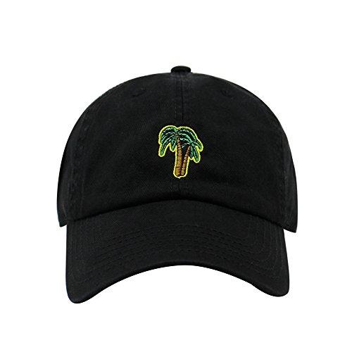 Palm Tree Design Dad Hat | Cotton Baseball Cap | 6 Colors (Black) -