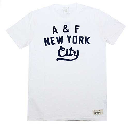 Abercrombie & Fitch Men Applique Logo Graphic Tee (L, White)