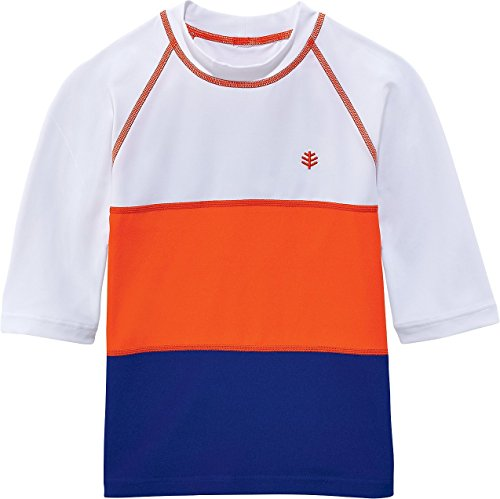 Coolibar UPF 50+ Boys' Colorblock Rash Guard - Sun Protective (M 10-12 - White)