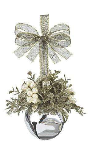 Kissing Krystals Champagne White Mistletoe Sleigh Bell Ornament, 4