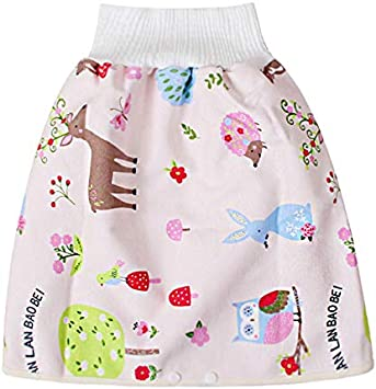 Fxhan Comfy Cartoon Children Leak-Proof High Waist Belly-Protecting Diaper Skirt Breathable for Kids