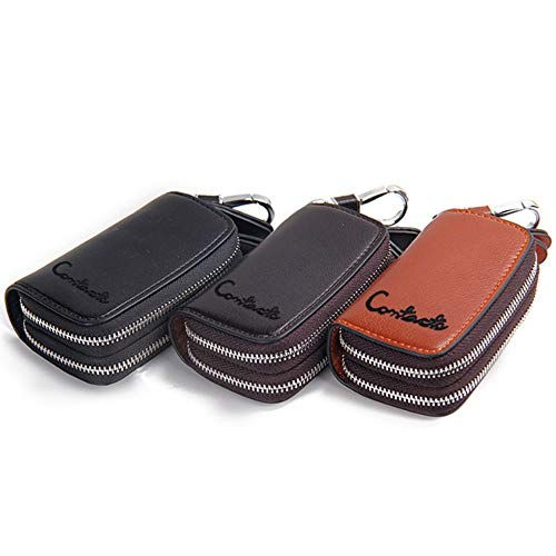 function Key Brass Leather Case Casual Zipper Double Bag Multi Car dRwFwa0qx