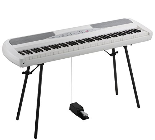 Korg SP280WH 88 Key Digital Piano with Stand and Pedal – White