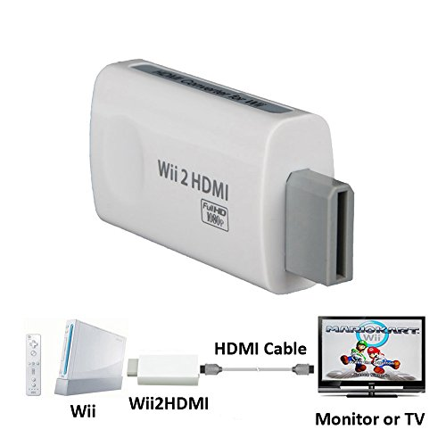NAMEO Wii to HDMI Adapter Converter, Full HD 1080P Output Upscaling 3.5mm Audio HDMI Converter for Wii (White)