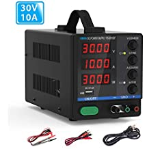 DC Bench Power Supply, 30V/10A Dr.meter Variable 4-Digital LED Display Power Supply, Multifuncitonal