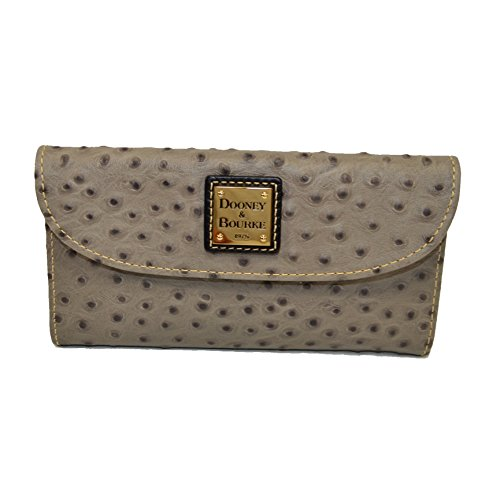 - Dooney & Bourke Ostrich emb leather conyinental clutch wallet Grey
