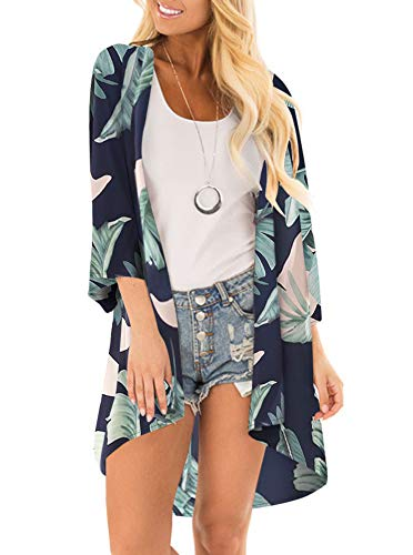 Women Floral Print Kimono Cover Up Sheer Chiffon Blouse Loose Long Cardigan Palm Leaf Print - Cover Tropical Up