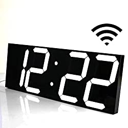 SHSEA Remote Control Large Wifi Digital Wall Clocks with Date, Temperature, Countdown for Home/Living Room/School(white)