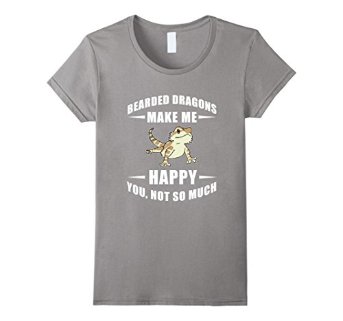 [Women's FUNNY BEARDED DRAGONS MAKE ME HAPPY T-SHIRT Pet Animal GIft XL Slate] (Father And Daughter Halloween Costume Ideas)