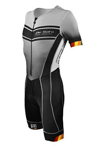 DeSoto Men's Forza Tri Suit with Sleeves - 2018 (White/Print, - Tri Piece Suit 2 Mens
