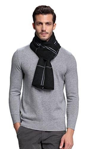 (RIONA Men's Australian Merino Wool Plaid Knitted Scarf - Soft Warm Gentleman Neckwear with Gift Box(Black))