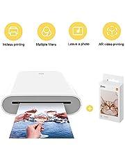 per Xiaomi Stampante Portatile, AR video Printing, Bluetooth 5.0, w/ZINK Tecnologia Zero Ink Printing, Photo Printer 300DPI Mini tasca fotografica, con 20 fogli 5 x 7,6 cm ZINK Print Paste Paper