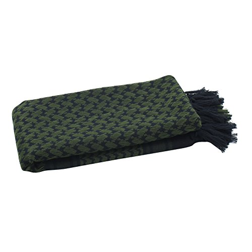 Explore Land 100% Cotton Shemagh Tactical Desert Scarf Wrap (Black and Green) by Explore Land (Image #2)
