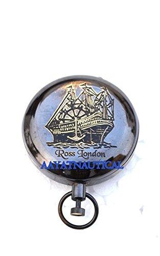 ヴィンテージRoss London Nautical美しいプッシュボタンコンパスアンティーク仕上げ@ B073SXN14V