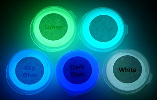 [Neutral 5 Color Pack Glow In The Dark Pigment Powder - 12g Each, 60g Total] (30 Second Costumes)