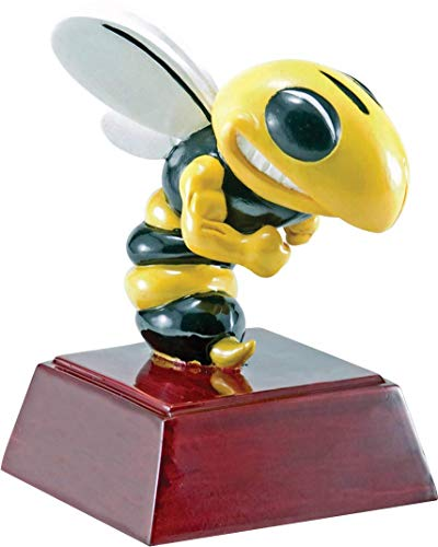 Trophy Crunch Bee & Hornet Mascot School Gift & Award - Free Custom Engraving