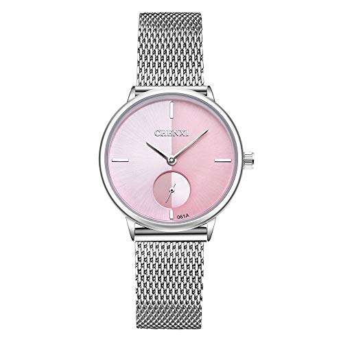XueXw Women's Watch Reticulated Steel Strip Ultra-Thin Fashion Watch Waterproof Quartz Unique Design Watch Make Your Beauty Impeccable,Pink