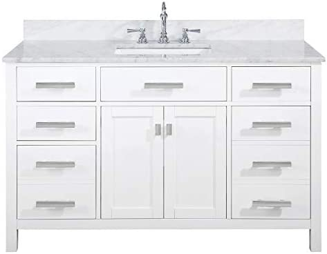 LUCA Kitchen Bath LC54PWW Tuscan 54 Single Bathroom Vanity Set in Pure White with Carrara Marble Top and Sink