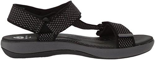 CLARKS Womens Brizo Cady Sandal, Black/Grey Textile, 7 Medium US