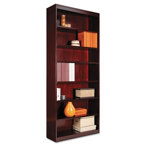 Miller Supply Inc Alera Square Corner Bookcase, Wood Veneer, 7-Shelf, 35-3/8w x 11-3/4d x 84h, Mahogany - BMC-ALE BCS78436MY
