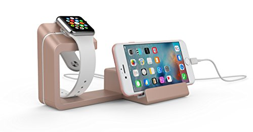 Elements Stand (Dual 2-in-1 Charging Stand & Dock for Apple Watch and Apple iPhone (Rose Gold))