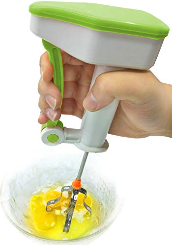 LOYOMON Stainless Steel Whisk Egg-beater,Hand Push Mixer Stirrer,Kitchen Utensil for Blending Whisking, Beating & Stirring(Green)