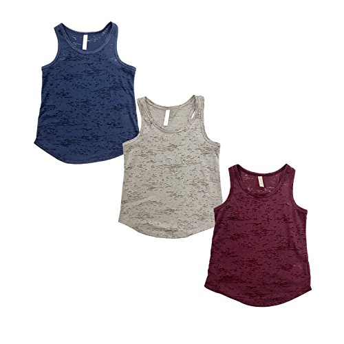 Little Girl Tank Top (Tough Cookie's Kid's Plain Burnout Tank Top (X-Small, Navy/Heather Gray/Maroon))