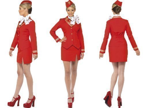 Flight Attendant Costume Uk (Smiffy's Women's Air Hostes Virgin Style Costume Hen Women: 12-14 Red)