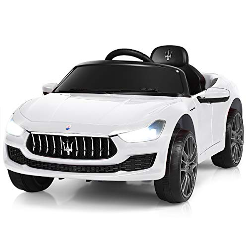 Costzon Ride on Car, Licensed Maserati Gbili 12V Rechargeable Battery Powered Electric Car w/ 2 Motors, Parental Remote Control & Manual Modes, LED Lights, MP3, White