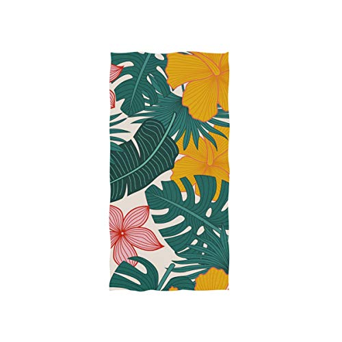 DOMIKING Floral Tropicales Print Soft Bath Towel Absorbent Fade Resistant Pool Beach Bath Towel for Bathroom Hotel Gym and Spa, 30