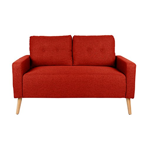 - Mid Century Modern Upholstered Loveseat in Maple with Solid Oak Legs
