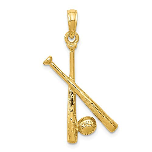 Polished Open Backed Bats - Jewel Tie 14K Yellow Gold Polished Open-Backed Bats & Ball Baseball Pendant - (1.14 in x 0.51 in)