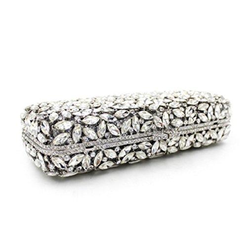Bolso De Mano De Diamante Banquete De Gama Alta Bolso De Noche De Diamantes De La Moda De Las Mujeres Silver