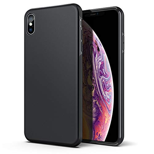 GLOUE iPhone Xs Max Case iPhone Magnetic Case Design Cushion Rubber Cover for iPhone Xs Max Black Compatible with Car Mount Holder TPU Cover Phone Case with Carbon Fiber