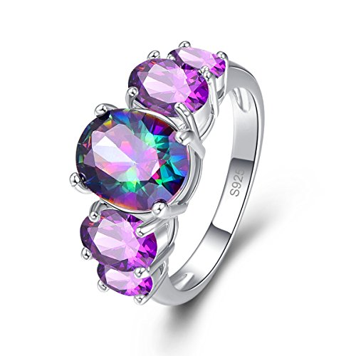 Psiroy 925 Sterling Silver Created Rainbow Topaz Filled 5 Stone Engagement Ring Band Size 7