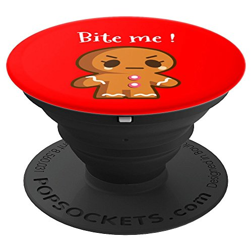 Bite Me Funny Christmas Cookie Angry Gingerbread Man - PopSockets Grip and Stand for Phones and Tablets