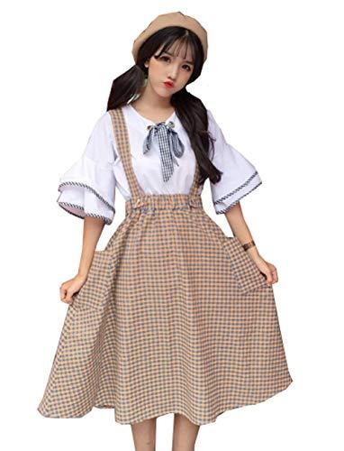 呪いファッション個人的な(グードコ) 2点セット レディース ワンピース チェック柄 つりスカート 半袖 学院風 ドレス フレア 薄手 薄手 パーティー