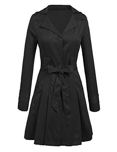 Lightweight Silk Coat (Asatr Women Elegant Single Breasted Belted Jacket Lightweight Long Trench Coat, Black)
