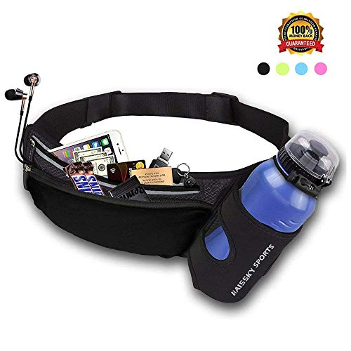 Running Belt Waist Pack with Water Bottle Holder Fitness Waterproof Bum Bag Cycling Waist Bag Workout Pouch Dog Walking Bag For Travelling Running Cycling Camping Hiking with Headphone Hole