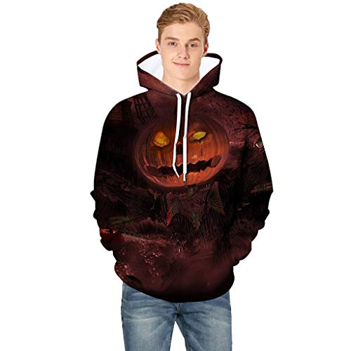 VEFSU Men Hoodie Pullover Scary Halloween Pumpkin 3D Print Hooded Party Long Sleeve Round Neck Blouse Red L2