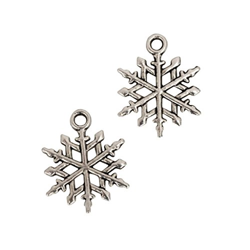 20 x Beautiful Snowflake Charms Beads 16mm Antique Silver Tone for Charms Bracelet Necklace Jewelry Findings #mcz1187