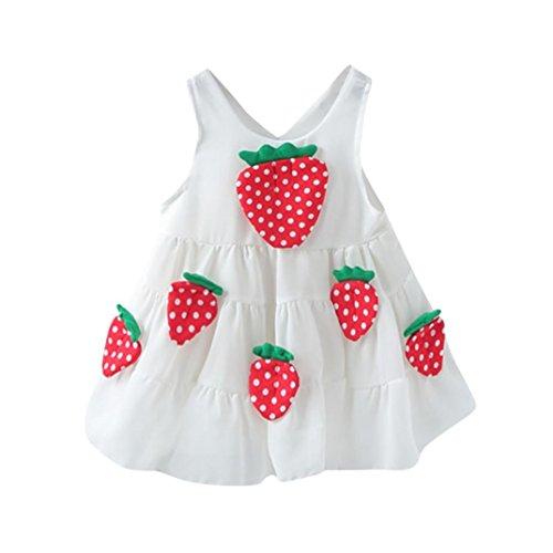 Tefamore Neugeborenes Kleinkind Baby Mädchen Erdbeere Appliques Lässige Prinzessin Kleid Kleidung Weiß