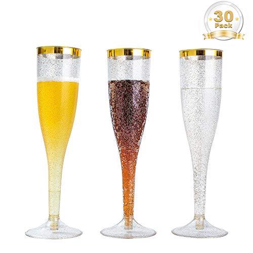 BGLROSOO 30pcs 6.5oz Glitter Plastic Champagne Flutes, Transparent Plastic Cup With Golden Edge Design, Wedding Party Toasting Glasses