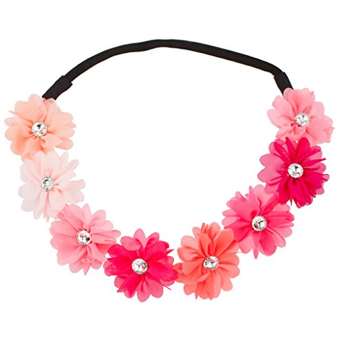 Lux Accessories Multi Color Peach Pink Rainbow Floral Flower Crystal Stretch Headband Head Band
