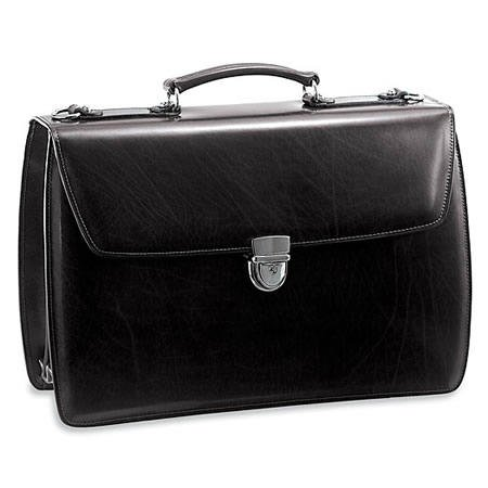 Jack Georges Elements Collection Triple Gusset Flap with Open Back Pocket, Black (Flap Pocket Briefcase)