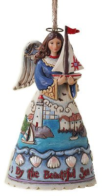 Enesco Jim Shore Heartwood Creek Coastal Angel Ornament, 4-1/2-Inch