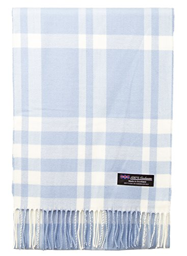 100% Cashmere Scarf Elegant Collection Made in Scotland Wool Buffalo Tartan Windowpane Check Plaid (Light Blue White Buffalo) -